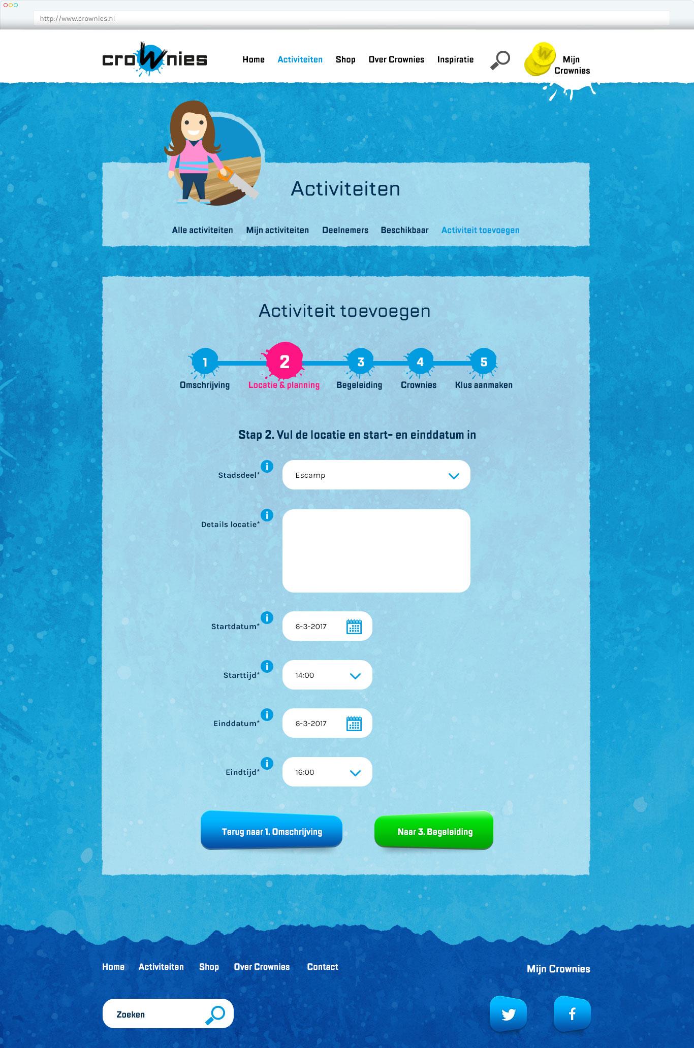 Ontwerp Crownies website Activiteiten toevoegen