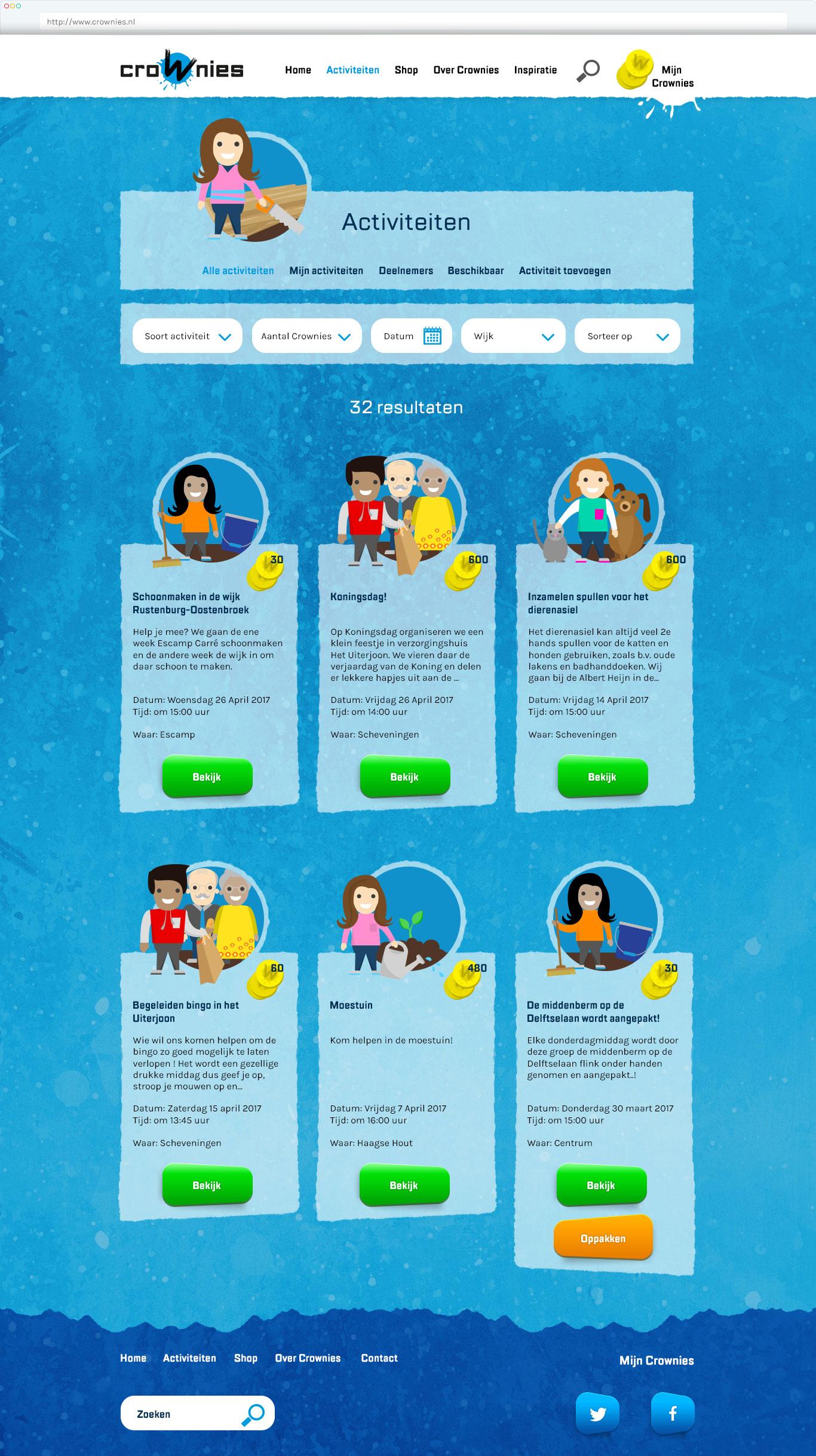 Ontwerp Crownies website Activiteiten